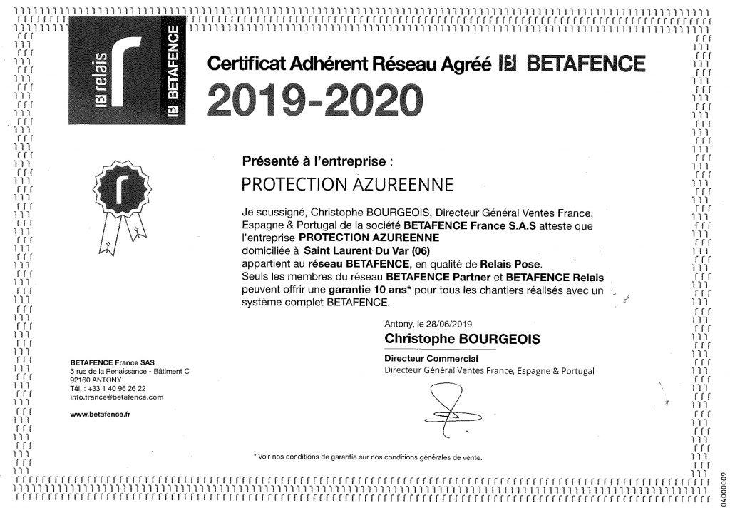 Certificat Betafence